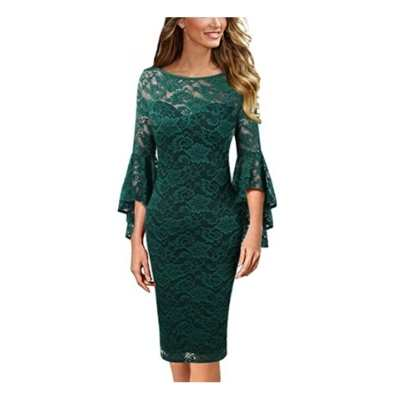 Women's Bell Sleeve Cocktail Party Bodycon Pencil Sheath Dress