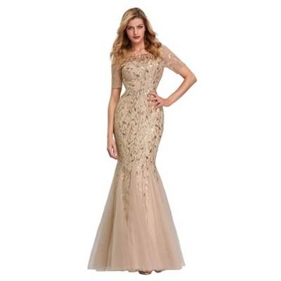 Women's Illusion Embroidery Elegant Mermaid Evening Dress